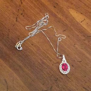 Ruby red oval necklace